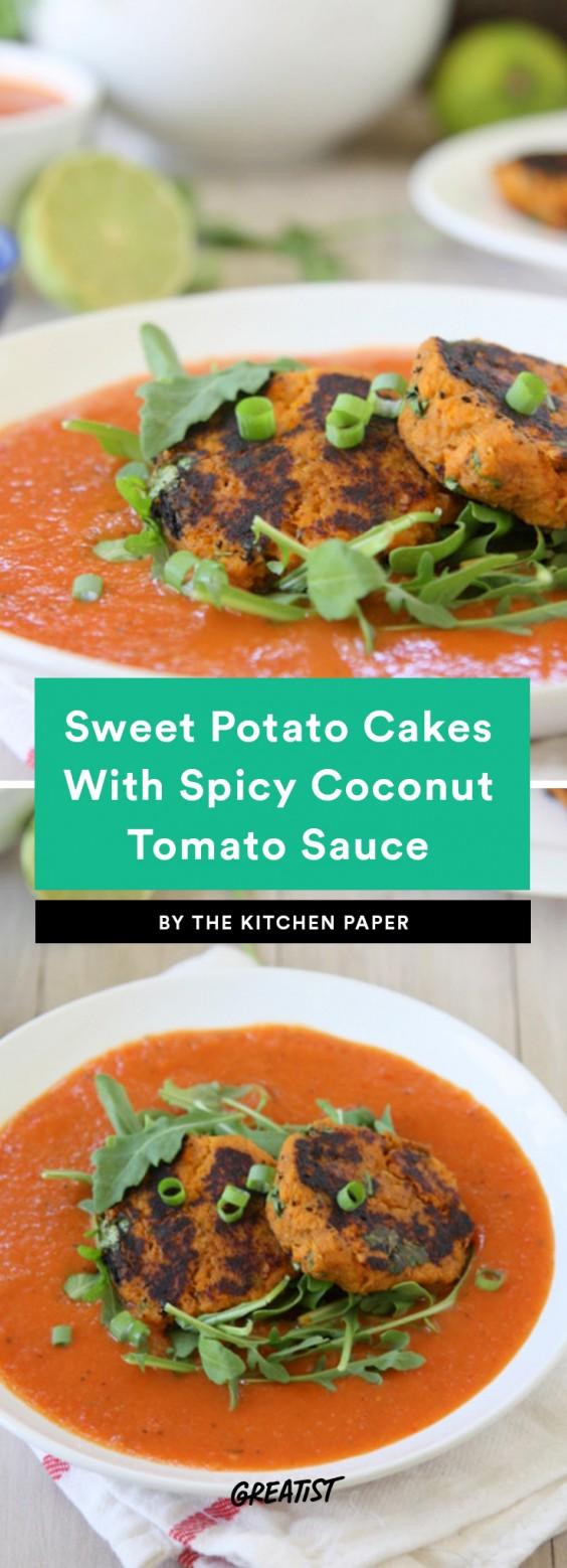Sweet Potato Cakes With Spicy Coconut Tomato Sauce