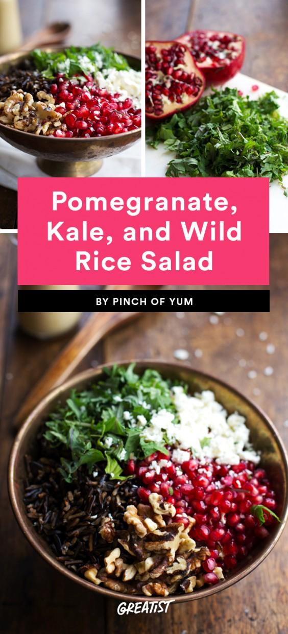 Pomegranate, Kale, and Wild Rice Salad