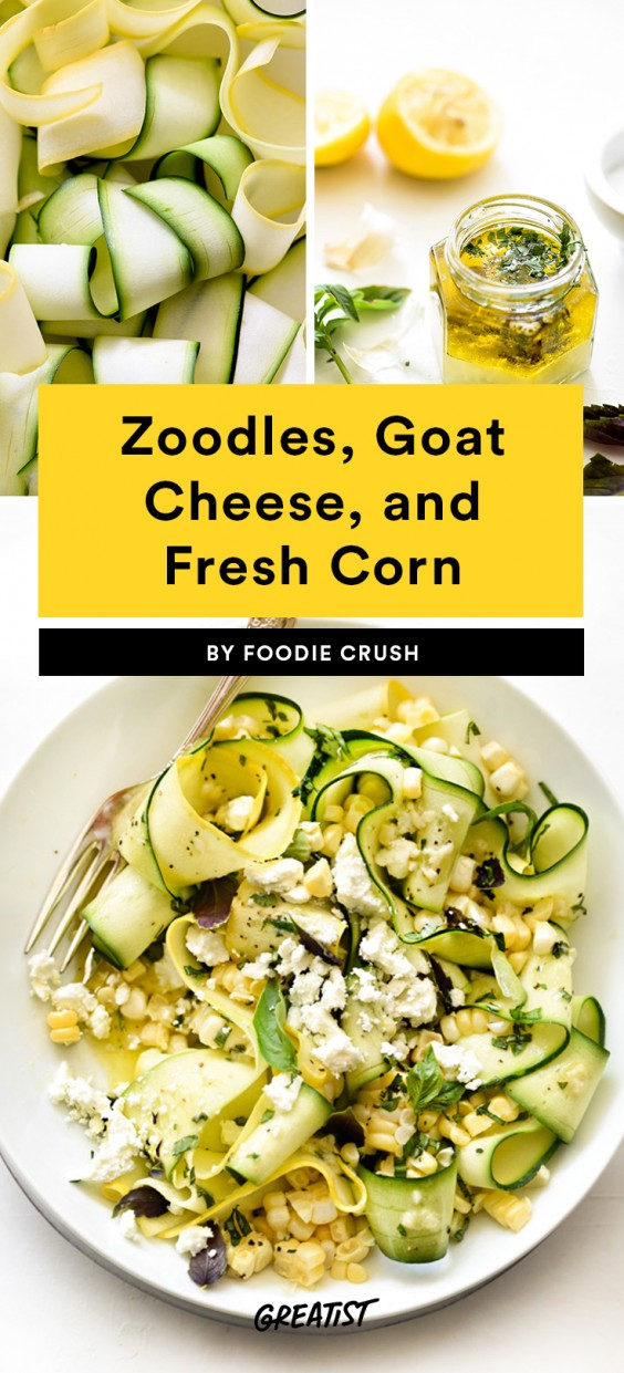 Zoodles, Goat Cheese, and Fresh Corn