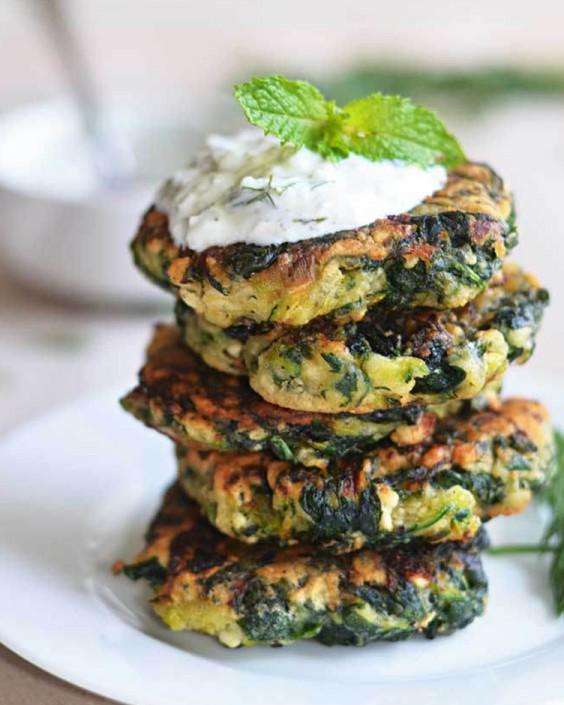 Zucchini Feta Spinach Pancakes