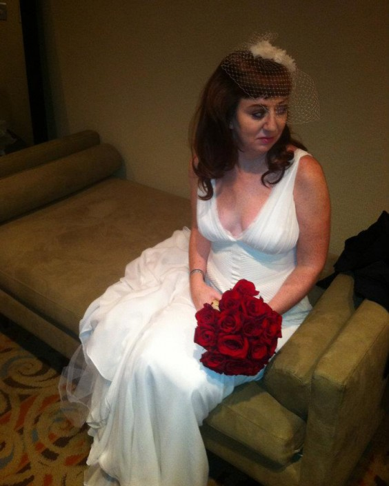 The author, Alia, on her wedding day, looking not especially excited to be there