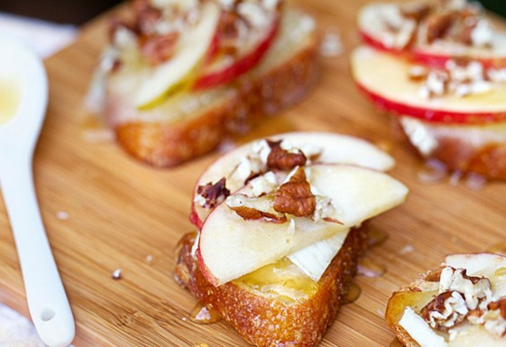 3. Apple, Brie, and Honey Bruschetta