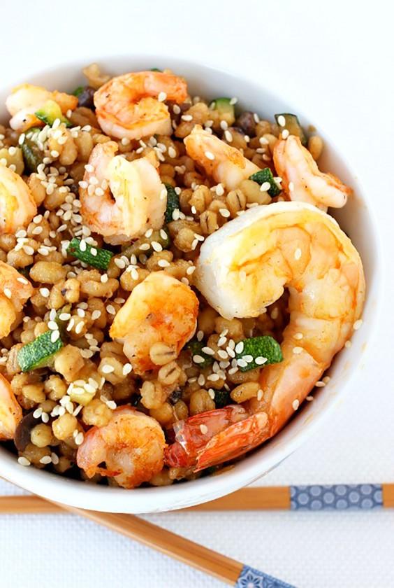 Healthy Grain Bowls: Asian Shrimp Barley Bowl