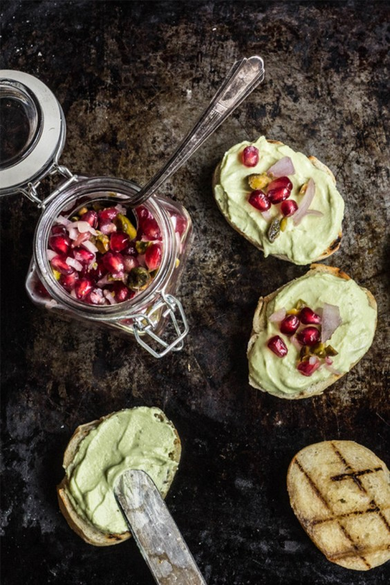 Avocado and Whipped Feta Toast With Pomegranate Relish