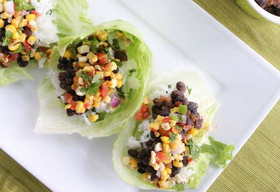 14. Black Bean Lettuce Wraps With Grilled Corn Salsa and Cilantro Lime Rice