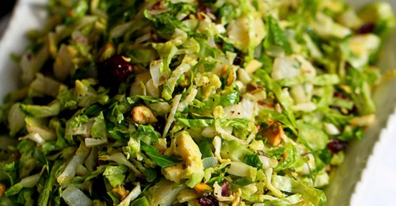Shredded Brussels Sprouts With Pistachios, Cranberries, and Parmesan