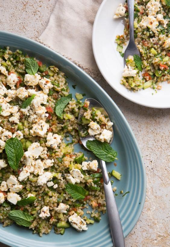 Bulgur Salad with Marinated Feta Recipe