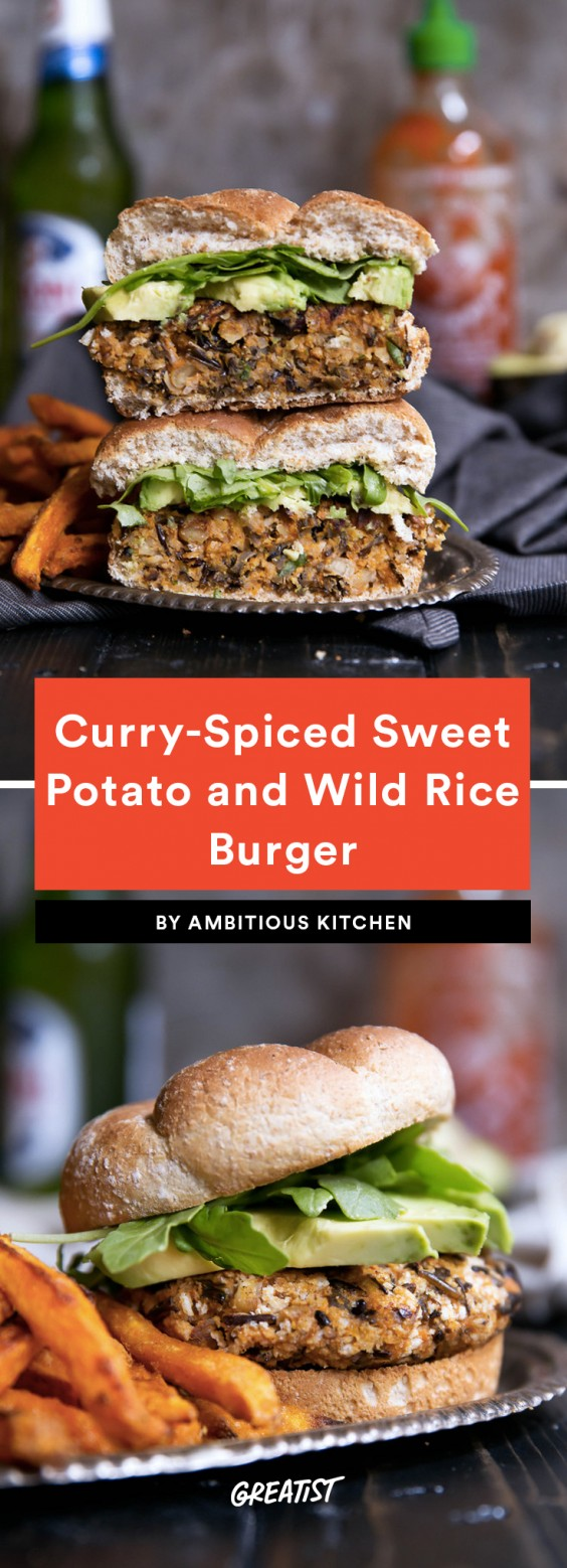 Curry-Spiced Sweet Potato and Wild Rice Burgers