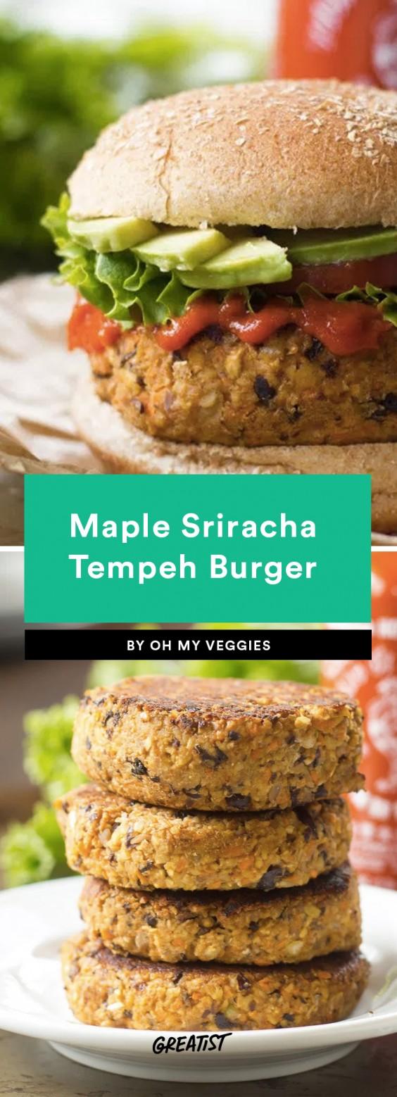 Maple Sriracha Tempeh Burgers