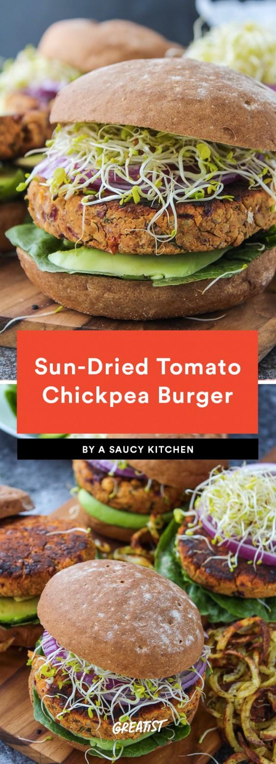 Sun-Dried Tomato Chickpea Burger