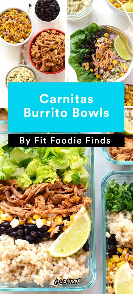 Meal Prep Lunches: Carnitas Burrito Bowls