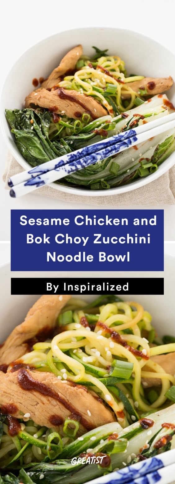 Inspiralized Roundup: Sesame Chicken and Bok Choy Zucchini Noodle Bowl