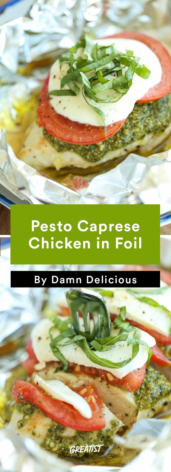 Foil Packet Recipes: Pesto Caprese Chicken