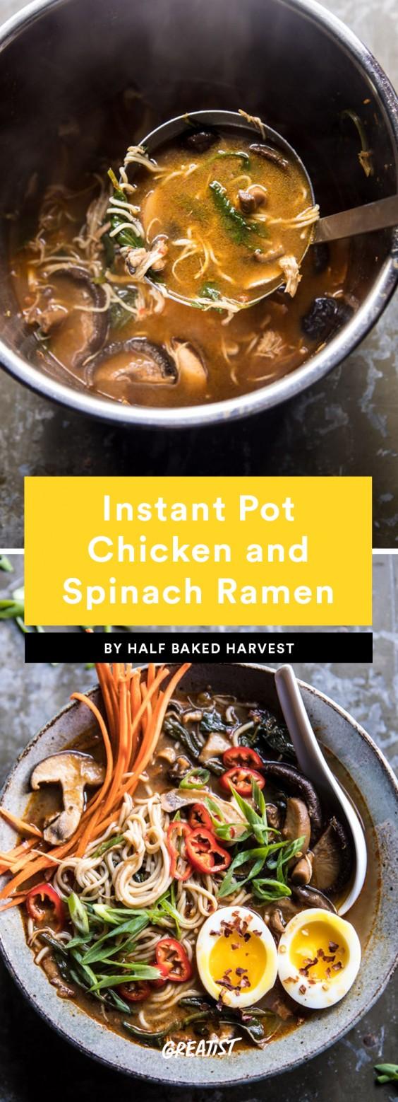 chicken and spinach ramen