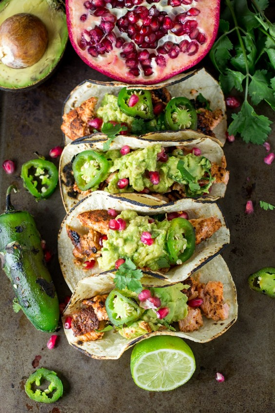 Healthy Tacos: Salmon with Pomegranate Guacamole