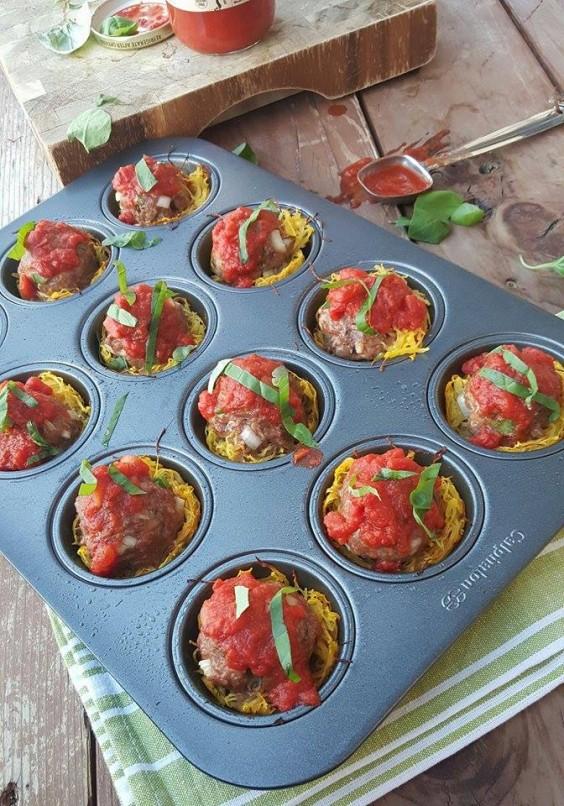 Muffin Tin: Spaghetti and Meatballs