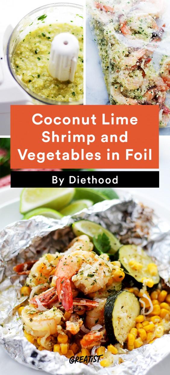 Foil Packet Recipes: Coconut Lime Shrimp and Vegetables