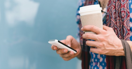 To-Go Coffee and Cell Phone