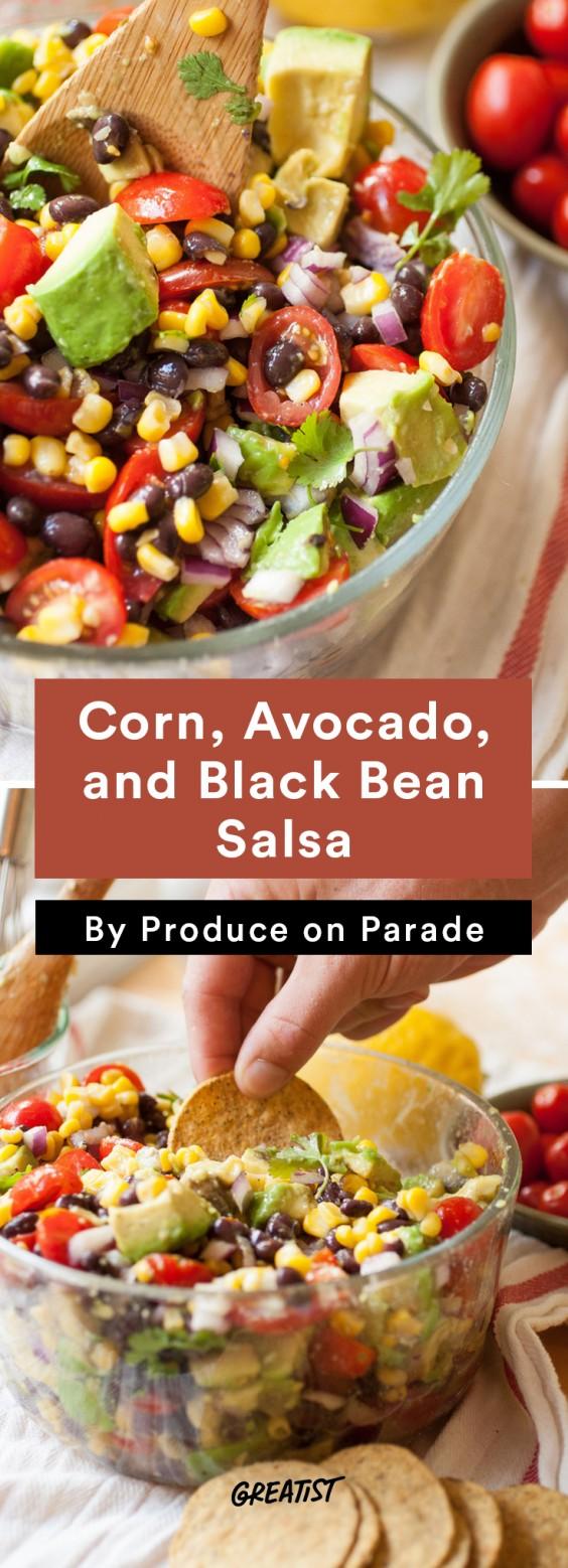 Better Dips: corn, avocado, black bean salsa