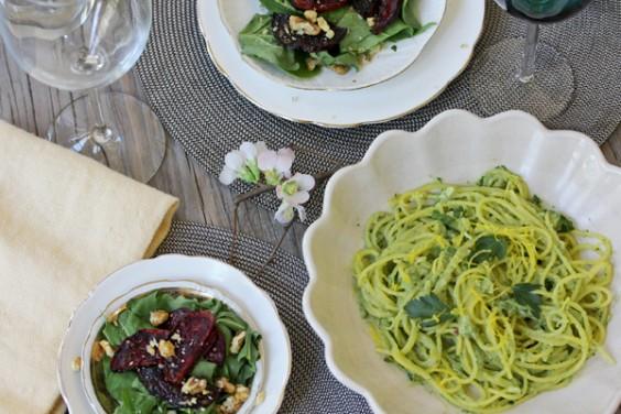Creamy Avocado Pasta and Balsamic Roasted Beet Salad