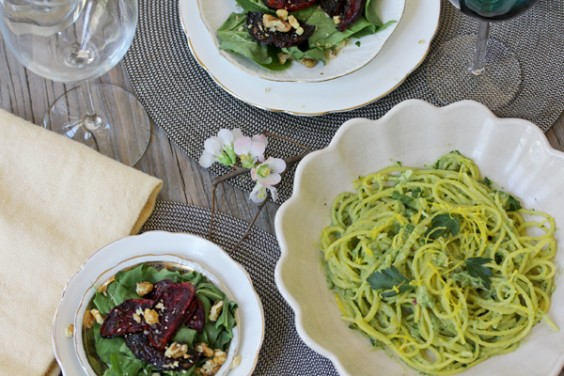 Creamy Avocado Pasta and Balsamic Roasted Beet Salad