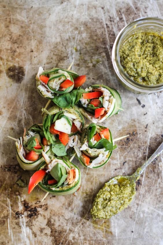 Turkey & Pesto Cucumber Roll Ups