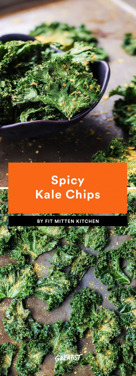 snack prep: Spicy Kale Chips