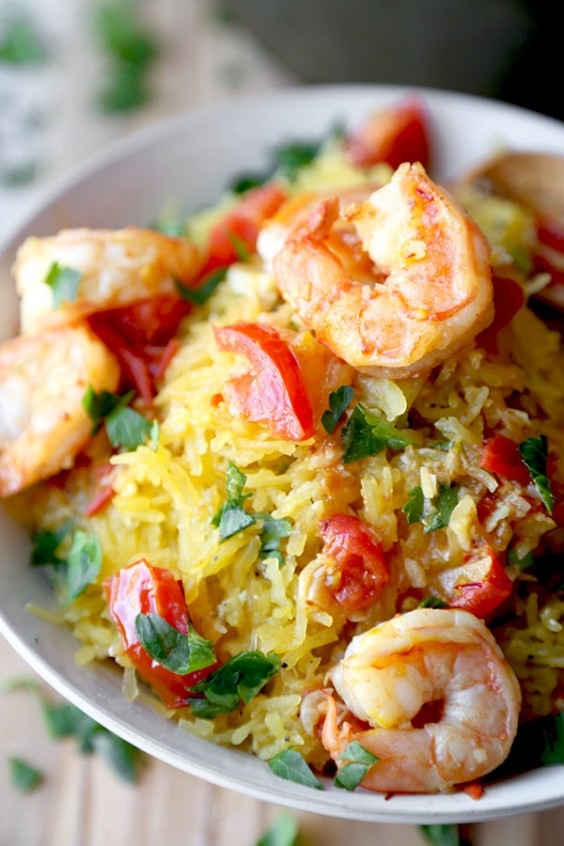 veg as carbs: Spaghetti Squash Shrimp Scampi