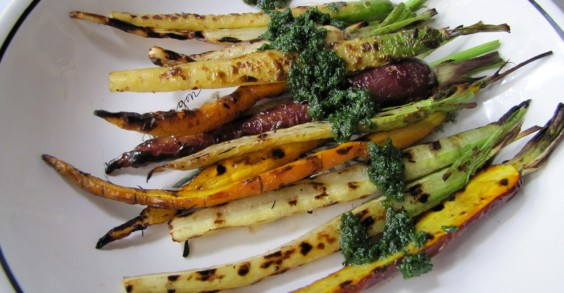 Grilled Carrots With Carrot Greens Pesto