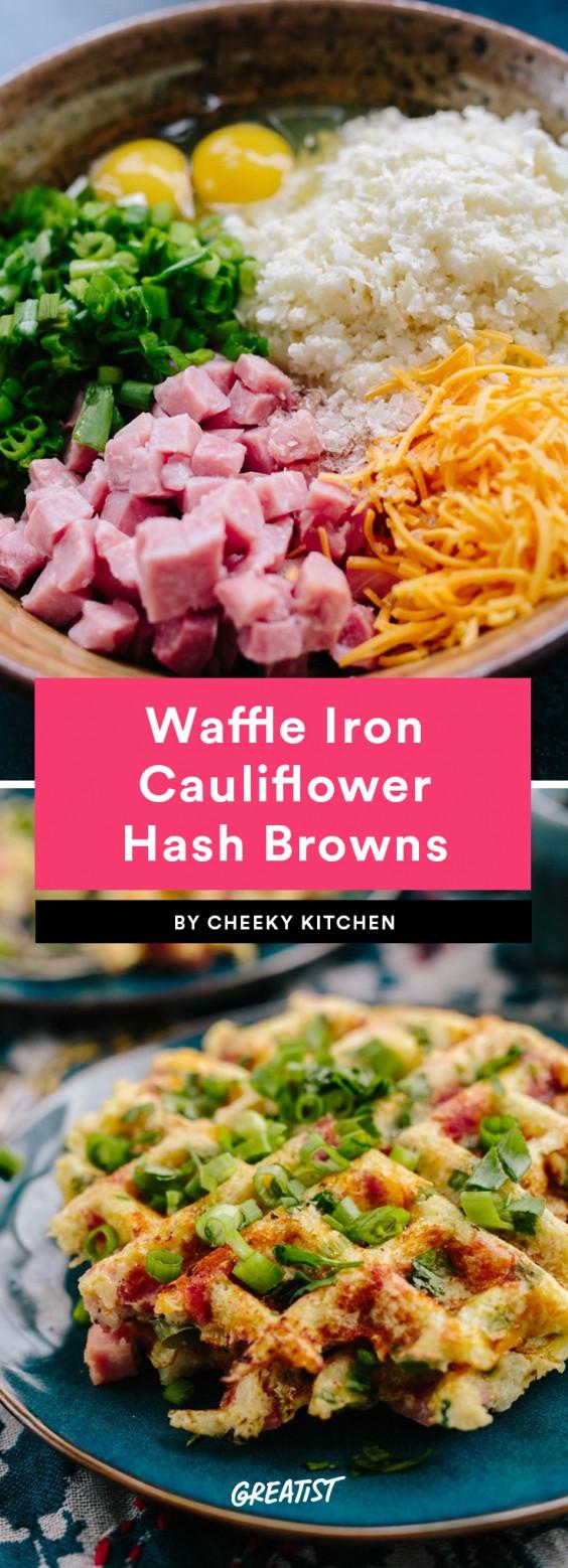 Waffle Iron Cauliflower Hash Browns