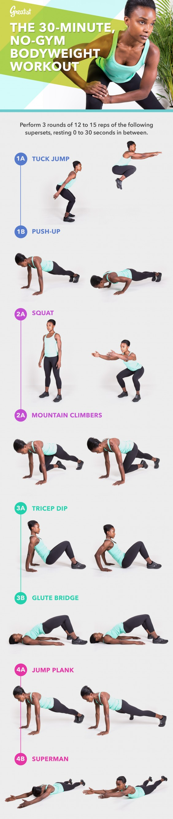 All you need is 30 minutes to break a sweat with this kick-butt bodyweight workout—anytime, anywhere.