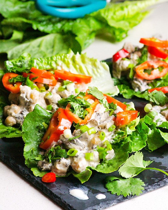20 Gluten-Free Lunches: Mushroom and Chickpea Lettuce Wraps