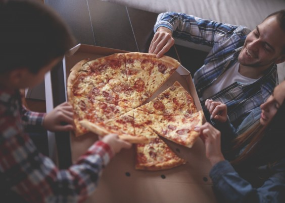 friends having pizza