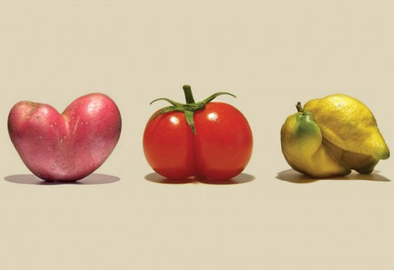 Imperfect Produce: Misshapen Potato, Tomato, and Lemon