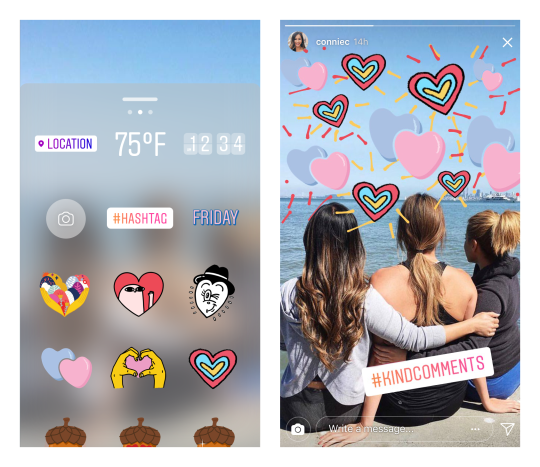 Instagram #KindComments stickers