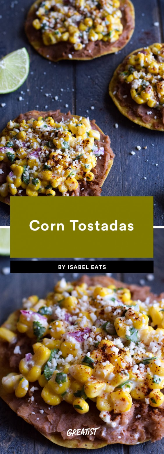 fifteen min veg dinner: Corn Tostadas