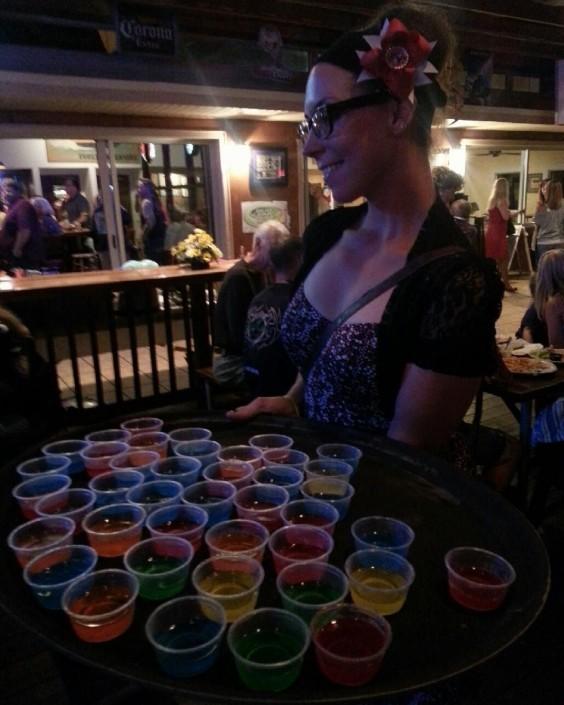 The author, serving jello shots