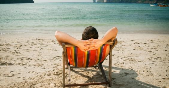 Man Relaxing on Beach
