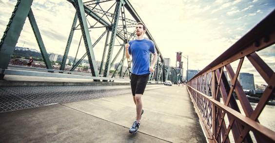 Man Running Over Bridge
