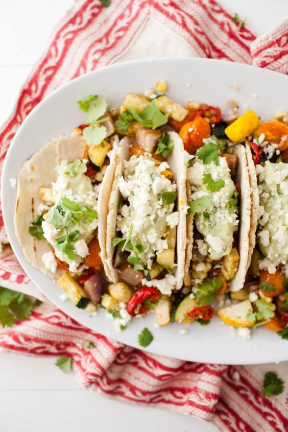 Healthy Tacos: Roasted Vegetable With Avocado Cream