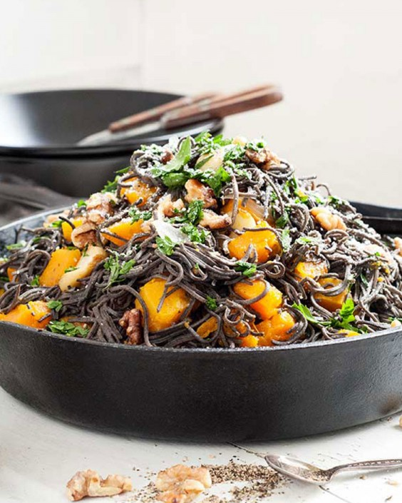 Gluten-Free Black Bean Spaghetti With Roasted Butternut Squash