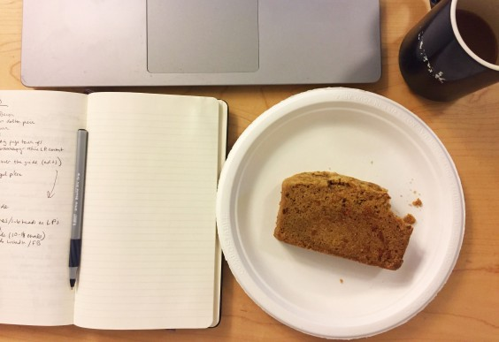 Carrot bread and a laptop