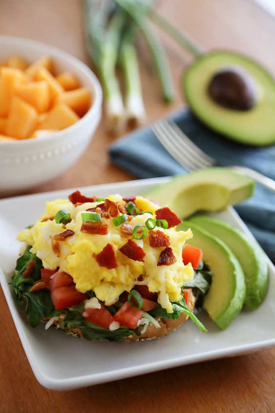 Open-Faced Bagel Breakfast Sandwich
