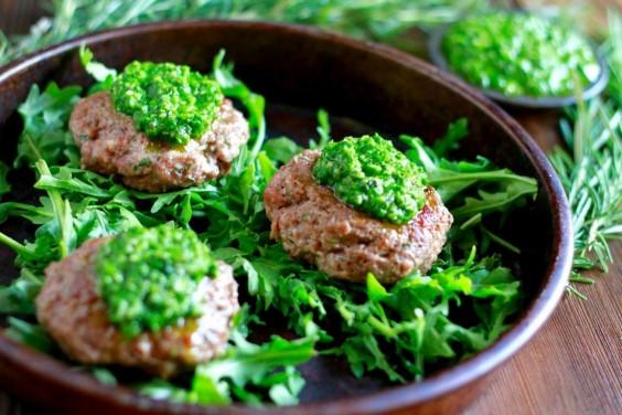 Paleo Lamb Burger with Pesto