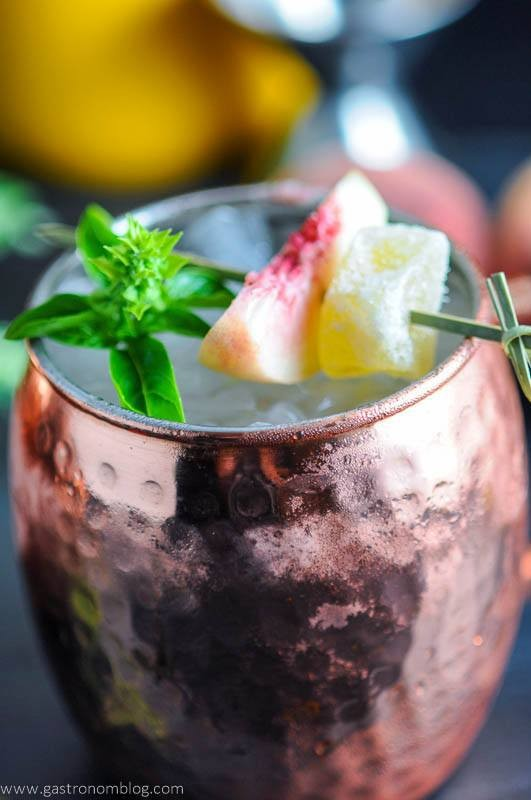 herb cocktails: Peach and Basil Moscow Mule