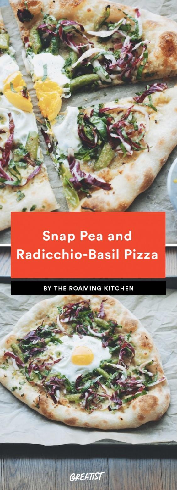 Snap Pea and Raddichio Basil Pizza