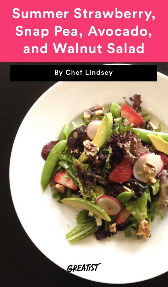Summer Strawberry, Snap Pea, Avocado, and Walnut Salad