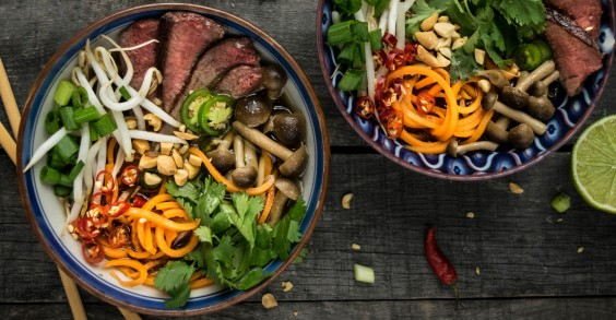 Beef Pho With Beech Mushrooms and Sweet Potato Noodles