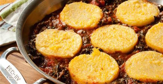 Pan-Seared Polenta with Kale and Marinara