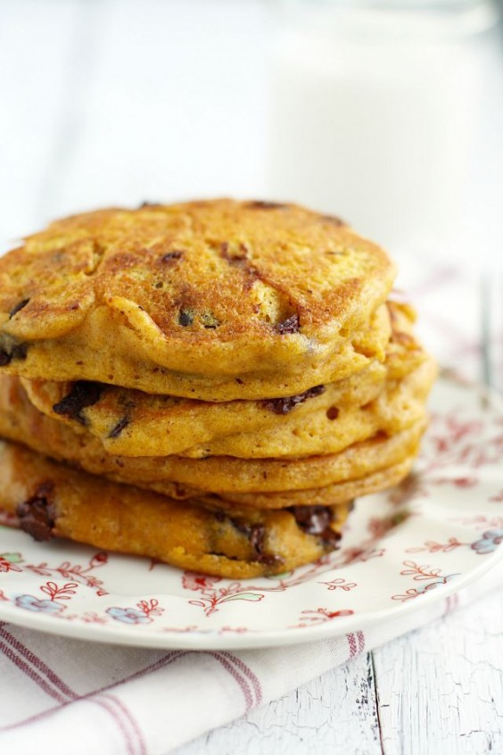 Pumpkin Chocolate Chip Vegan Pancakes